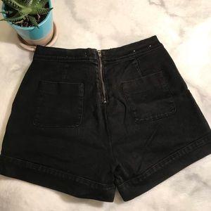 Black denim zip-back high-waist short shorts